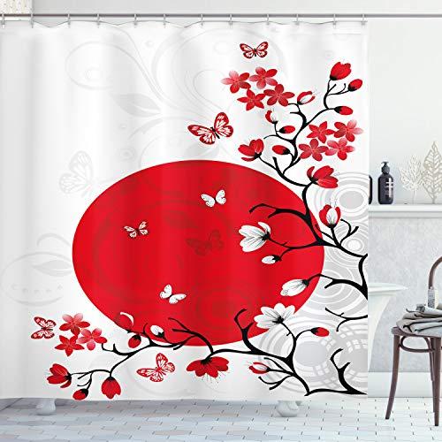 ABAKUHAUS Japanisch Duschvorhang, Cherry Blossom Sakura, Waserdichter Stoff mit 12 Haken Set Dekorativer Farbfest Bakterie Resistet, 175 x 180 cm, Rubinschwarz Weiß