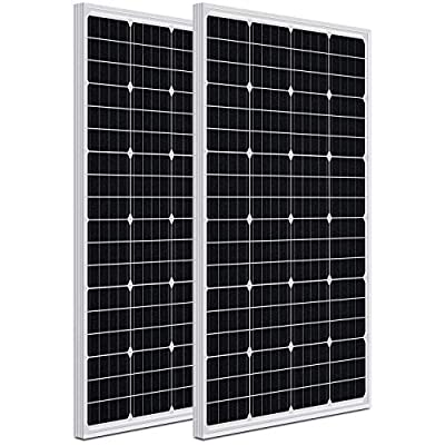 WEIZE 200 Watt 12 Volt Monocrystalline Solar Panel, 2 Pack of 12V 100W