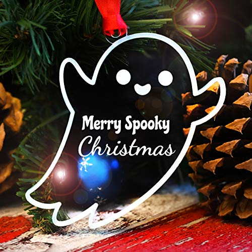 LHS Engraving Halloween Christmas Tree Decorations Cute 2020 Spooky Ghost Ornament Crystal Clear Frosted White Acrylic | Unique Decor Non Personalized | Made in USA