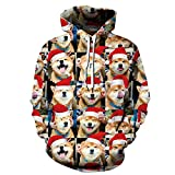 Animal Shiba Inu Navidad 3D Hombre Mujer Sudadera, Otoño Invierno Cálido Jersey Sudadera Manga Larga Deportiva con Bolsillo Animal Shiba Inu M