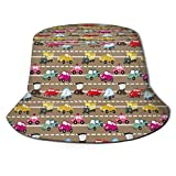 huatongxin Unisex Fisherman Cap,Old Fashioned Colorful Vehicles Stuck in Traffic On Urban City Highway Trucks Taxis,Travel Beach Hat