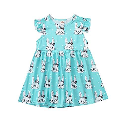 Julhold Vestido para niña con estampado de conejo con volantes de Pascua, lunares, manga voladora, ropa casual
