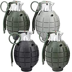 Lot of 4 Kids Toy B/o Grenades for Pretend Play 4 Inch Realistic Battery Operated Grenades Hold trigger and timer sounds for 10 seconds before explosion. There is a release pin that can be inserted and pulled out. Simulates real grenade.