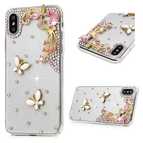 Maviss Diary iPhone X Case, iPhone Xs Case, Luxury 3D Handmade Bling Full Diamond Pearl White Florals with Shiny Sparkle Rhinestone Gems Crystal Clear Full Body Protection Hard PC Plastic Cover