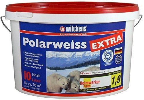 Polarweiss innen Wandfarbe weiss blauer Engel inkl. 4x 5m Abdeckfolie von E-Com24 (Polarweiss Extra 10 Liter)