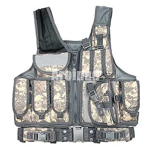 ULLAA Chaleco MOLLE multifuncin para exteriores para hombres y mujeres, tamao ajustable, para entrenamiento de combate de campo, entrenamiento de tiro, entrenamiento militar