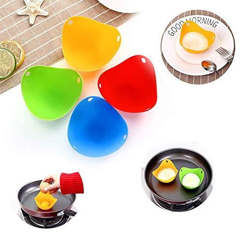 SOWELL Silikon Eierkocher Tassen,Eierbecher Kochgeschirr Eier-Pochier- Pfannen Küchen-Gadget Mikrowellen-Eier-Pochierer Silikon Ei Pochieren Cups