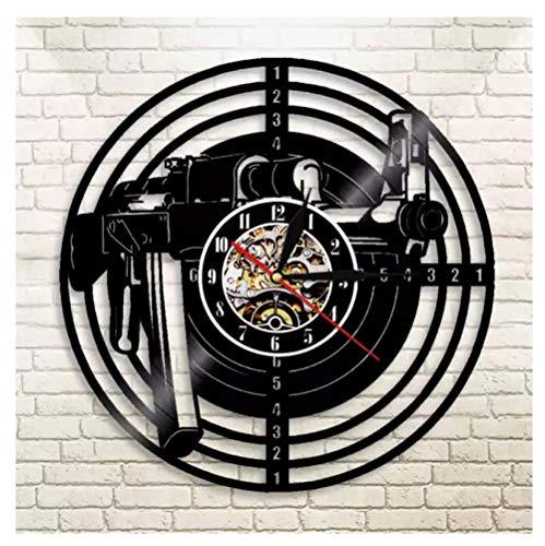 Liushenmeng Reloj Disco de Vinilo Rifle de Tiro Vinilo Pared Reloj Idea de Regalo Creativo Reloj De Pared Vintage Colgante Reloj De Pared Reloj Único diámetro 30cm