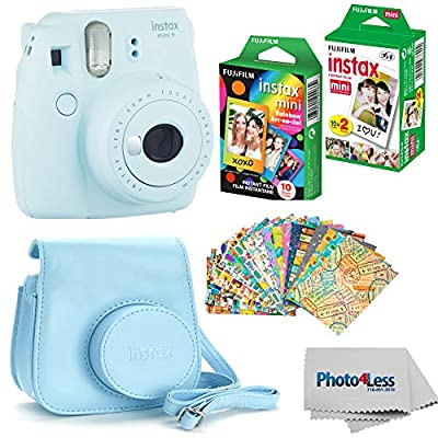 Fujifilm Instax Mini 9 Instant Film Camera (Ice Blue) - Fujifilm Instax Mini Instant Film, Twin Pack - Fujifilm Instax Mini Rainbow Film - Case for Fuji Mini Camera – Fuji Instax Accessory Bundle