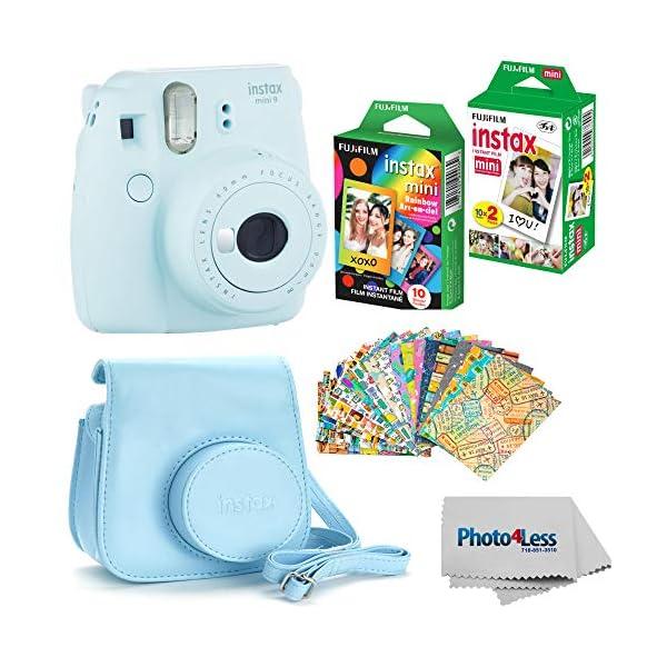 Fujifilm Instax Mini 9 Instant Film Camera (Ice Blue) – Fujifilm Instax Mini Instant Film, Twin Pack – Fujifilm Instax Mini Rainbow Film – Case for Fuji Mini Camera – Fuji Instax Accessory Bundle