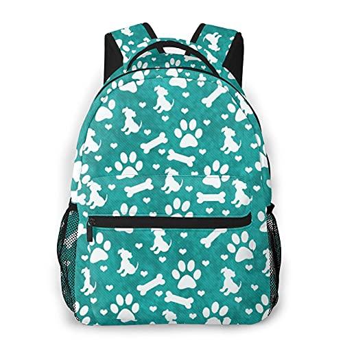 CVSANALA Multifuncional Casual Mochila,Azulejo de hueso y corazones de cachorro de pata de perro verde azulado y blanco,Paquete de Hombro Doble Bolsa de Deporte de Viaje Computadoras Portátiles