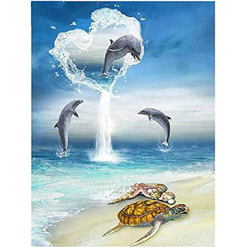 Diamond Painting Adult Art Full Round Drill 5D Kit Embroidery Numbers Crystal Rhinestone Arts and Crafts for Home Dolphin Love 11.8x15.7 in by SexTown
