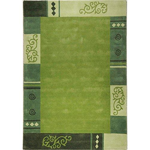 Taleta Kurflor Teppich aus 100% Schurwolle mit Floral Bordüre Design Handgetuftet Wollteppich Farbe: Grün Olivgrün, Größe: 120x180cm