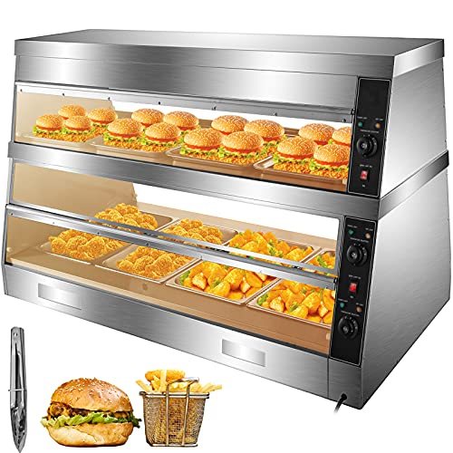 VEVOR 110V Commercial Food Warmer Display Case 60-Inch, 2-Tier Pizza Display Warmer 14.5 cu.ft with LED Lighting, 3000W Pastry Warmer 86-176℉, with Bread Clamp,10 Trays and 4 Stainless Steel Racks