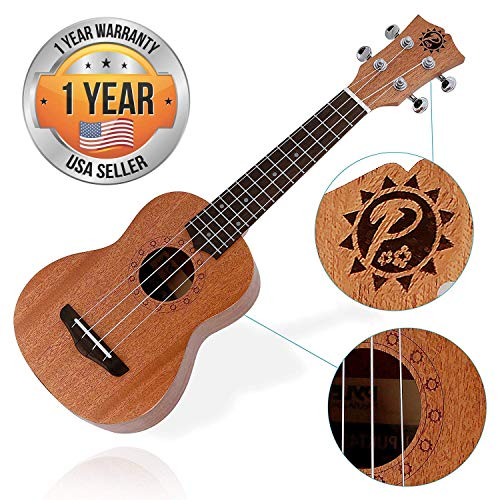 Solid Wood Mahogany Soprano Ukulele Professional Instrument with Solid Dark Brown Body & Neck, Black Walnut Fingerboard & Bridge - Pyle PUKT45