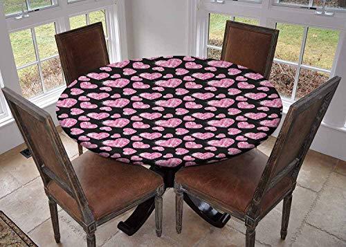 Ronde tafelkleed keuken decoratie, tafelblad met elastische randen, Geometrische Ontwerp Ruiten en Lijnen op de Collectie van Natuurlijke Rotsen Baby Blauw Wit, partij tafelkleed