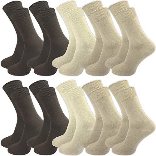 GAWILO 10 Paar Socken aus 100{f15fbf77e6991a39d5b157a28402409399c394532a27bd9af3e0972d511cd100} Baumwolle für empfindliche Füße – ohne drückende Naht – Damen & Herren – venenfreundlicher Komfortbund (39-42, beige)