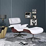 Lounge Chair Indoor Recliner w/Ottoman Chaise Full Grain Leather Genuine Classic Mid Century Modern Living Room Bedroom Reading Gaming Comfortable Plywood Brown Swivel Sofa (White+Dark Rosewood)