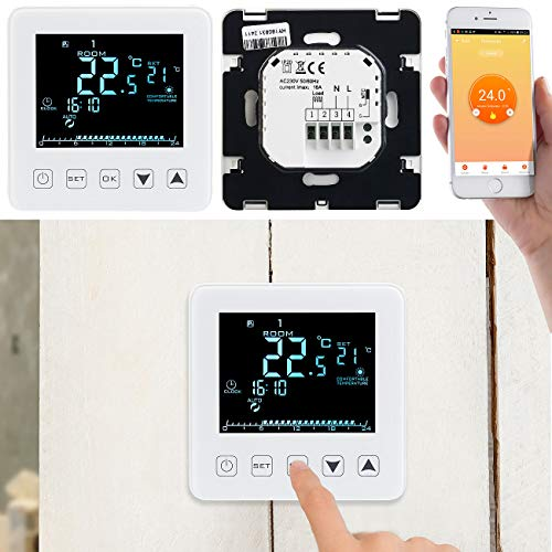 revolt WLAN Raumthermostat: WLAN-Thermostat Touch, Fußbodenheizungen, für Alexa & Google Assistant (Raumthermostat WiFi)