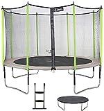 Kangui - Trampoline de Jardin 426 cm + Filet de sécurité + échelle + bâche de Protection JUMPI Taupe/Vert 430.