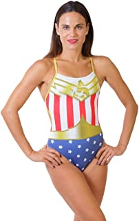 ZUMO Women's Superhero Style One-Piece Workout Swimsuit, Competitive & Training One Piece Swimwear, Athletic Bathing Suit