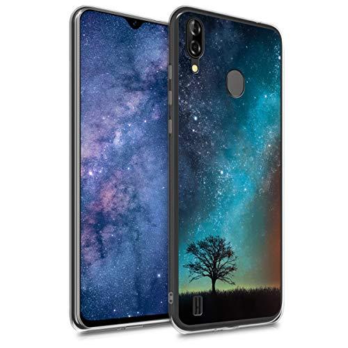 kwmobile Hülle kompatibel mit Blackview A60 Pro (4G) - Handyhülle - Handy Case Galaxie Baum Wiese Blau Grau Schwarz