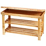 Ollieroo 2 Tier Natural Bamboo Shoe Rack Organizer and Foot Stool with Storage Drawer on Top