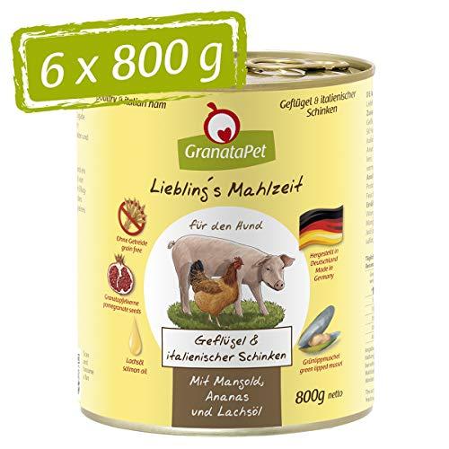 GranataPet Liebling's Mahlzeit Geflügel & Italienischer Schinken, Nassfutter für Hunde, Hundefutter ohne Getreide & ohne Zuckerzusätze, Alleinfuttermittel, 6 x 800 g