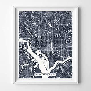 Washington D.C. DC City Street Map Wall Art Home Decor Poster Urban City Hometown Road Print - 70 Color Choices - Unframed