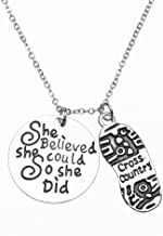 Sportybella Cross Country Running Gifts- Runner Charm Necklace, Running Jewelry, She Believed She Could So She Did Running Pendent- Perfect Cross Country, Track, Marathon Gifts