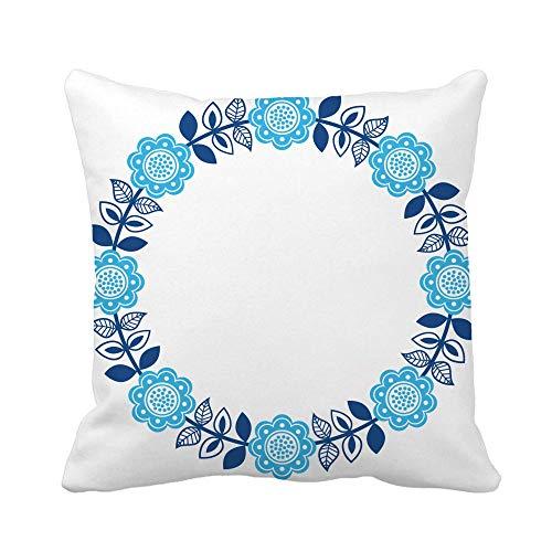 N\A Throw Pillow Cover Blue Finnish Inspired Round Folk Pattern Escandinavo Nordic Navy Funda de Almohada Funda de Almohada Cuadrada Decorativa para el hogar Funda de cojín