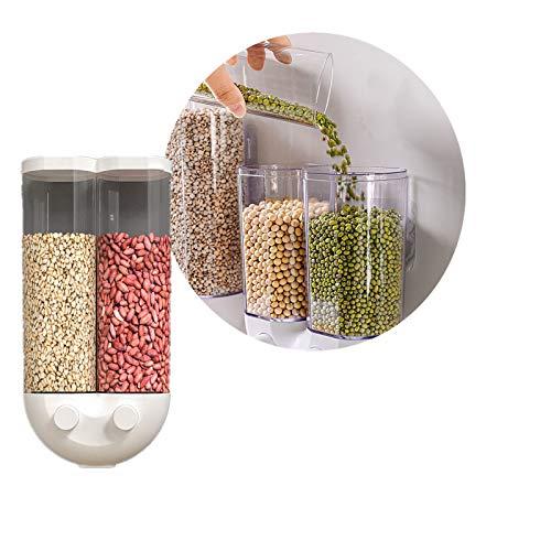 Goviells Wandmontage Lebensmittelspender Easy Press, Trockenfutter Körner Nüsse Kaffeebohnen Sojabohnen Dispensierbehälter, Küche Lebensmittelbehälter Lieferungen (White-L)