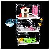 Huili Hamster Cage 3 Couches, Magnifique Pet Cage Acrylique Hamster Cage Château Transparent avec Pet Voyage tiroir Portable Hamster Cage,M