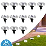 MOAOO Solar Ground Lights, 8 LED Disk Lights Solar Garden Lights Outdoor Waterproof Solar In-Ground Lights for Patio Lawn Pathway Yard Driveway, Cold White, 12 Pack