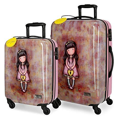 Santoro Gorjuss The Secret Juego de maletas Multicolor 55/67 cms Rígida ABS Cierre TSA 97L 4 Ruedas Equipaje de Mano