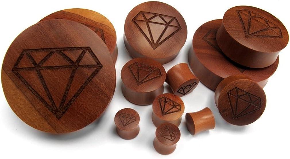 Urban Body Jewelry Pair of 9/16 Gauge (14mm) Engraved Diamond Wood Plugs