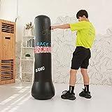 Saco de Boxeo para Adultos niños, Punching Ball Hinchable, Saco de Boxeo de Boxeo Independiente, Ejercicio y Alivio del Estrés, Negro y Azul, 1.2/1.5M