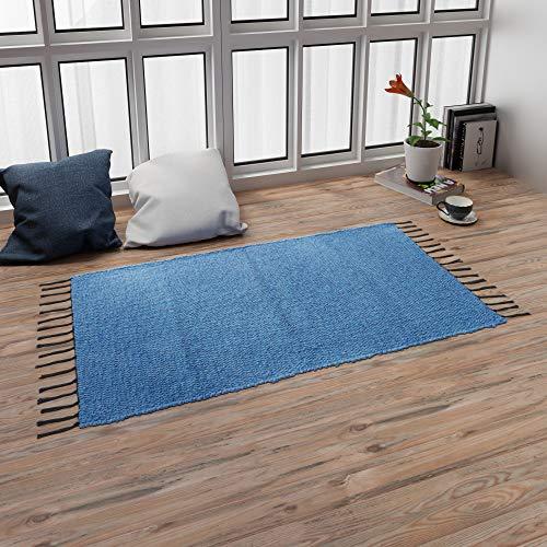 LEVIRA Home Alfombra Salón, Alfombra de Pasillo Rectangular 100 x 60 cm - Azul Real