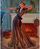 Art Frahm Pinup Girl Pin Up in Front of Fireplace p7473 A4 Poster - Art Paint...