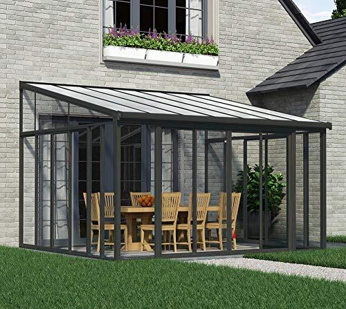 Preisvergleich Produktbild Palram Terrassendach Wintergarten Sanremo grau / / 400x425 cm (TxB) / / Überwinterungsüberdachung