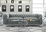 Iconic Home Modern Contemporary Tufted Velvet Down-Mix Cushons Acrylic Leg Sofa, Grey