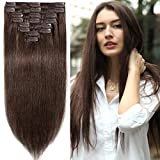 13 inch 80g Clip in Remy Human Hair Extensions Full Head 8 Pieces Set Short length Straight Very Soft Style Real Silky for Beauty #4 Medium Brown