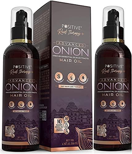 Terapia de raíces, aceite de cebolla avanzado para el crecimiento del cabello con queratina Booster y mezcla de 42 extractos de aceite esencial   paquete combinado de 2