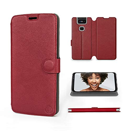 Mobiwear | Echt Lederhülle | Kompatibel mit Asus Zenfone 6 ZS630KL, Made in EU handyhülle, Slim Leather Hülle, Premium Flip Schutzhülle, Transparent TPU Silicon, Book Style, Tasche - Dunkelrotes Leder