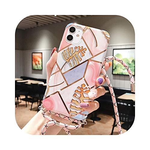 Carcasa geométrica de mármol para iPhone 12 Mini 11 Pro XS Max con correa de hombro cruzada para el cuello 7 8 6 XR X SE2 suave cubierta trasera IMD -34-BJYMármol para iPhone XS Max