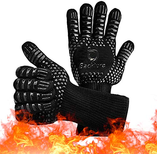 BACKTURE Grillhandschuhe, Hitzebeständige Backhandschuhe bis 800 Grad, Extra Lange Ofenhandschuhe, Wasserdicht, rutschfest, Topfhandschuhe für Küche & Grill, Feuerfeste Profi Kochhandschuhe