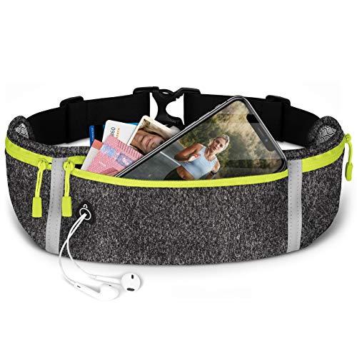 ONEFLOW Premium Handy Laufgürtel für alle Meizu Handys | Handytasche Sport Handyhalter für Joggen, Laufen - Lauftasche Atmungsaktiv mit Reflektorstreifen Gürteltasche, Anthrazit