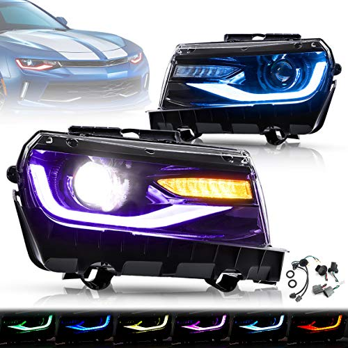 YUANZHENG Multicolor DRL Projector LED Headlights for [Chevy Camaro 5th Gen 2014 2015] with Sequential Turn Signal, Dual Beam Lens, YAA-CMR-0285PRO (NOT Include Bulbs, Driver & Passenger Sides) (RGB)