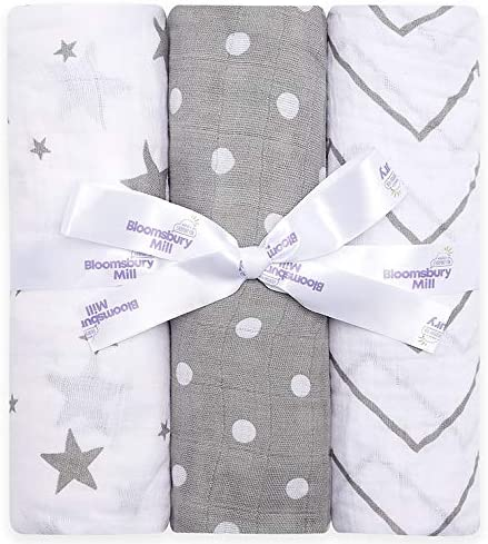 Bloomsbury Mill - Pack Store of New arrival 3 Swaddle Blankets Large Muslin Soft