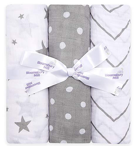 Bloomsbury Mill - Mantas de muselina de alta calidad – 100% Algodón Puro Estampado de Estrellas, Espiga y Lunares - Gris y Blanco - 120 cm x 120 cm - Juego de 3